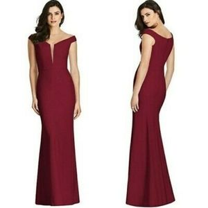 Dessy Collection Burgundy OTS Trumpet Gown - US 2